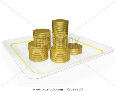 Golden Coins Stacked On A Ceramic Platter