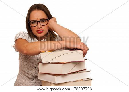 Stressed Asian Caucasian Woman Student Learning In Tons Of Books