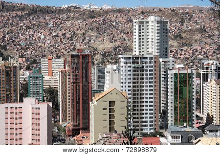 Modern buildings of La Paz in Bolivia