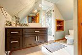 image of vault  - Brown vaniry cabinet with mirror glass door shower in small bathroom with vaulted ceiling - JPG