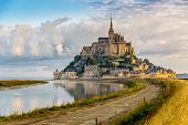 picture of mont saint michel  - Morning view at the Mont Saint-Michel - France
