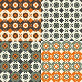 foto of debonair  - Set of seamless patterns stylized flowers bright colors - JPG