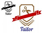 picture of tailoring  - Tailor or sewing emblem with scissors - JPG