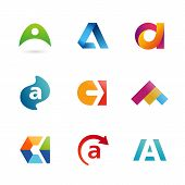 pic of letter  - Set of letter A logo icons design template elements - JPG