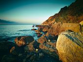 stock photo of crimea  - Mountains and sea at sunset - JPG