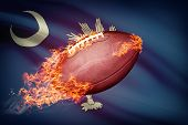 image of south american flag  - American football ball with flag on backround series  - JPG