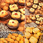 stock photo of shortbread  - Shortbread puffs and cookies background texture - JPG