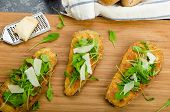foto of crust  - Fried eggplant fried in parmesan crust arugula salad with shavings of Parmesan cheese fresh bread  - JPG