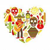 foto of pinata  - Mexico travel traditional symbols decorative icon set in heart shape vector illustration - JPG