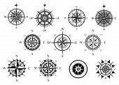 stock photo of marines  - Vintage nautical or marine wind rose and compass icons set - JPG