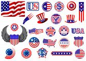 stock photo of eagles  - American patriotic badges - JPG