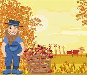 stock photo of redneck  - happy redneck man on autumn cleanup on rural landscape  - JPG