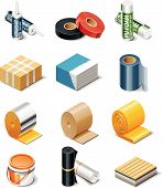 foto of glass-wool  - Set of the icons representing building products - JPG