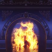 stock photo of cozy hearth  - Digital 3D Illustration of a Fire Place - JPG