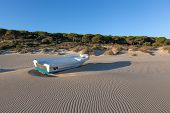 pic of tarifa  - boat at bolonia beach a coastal village in the municipality of Tarifa in the Province of Cadiz in southern Spain - JPG