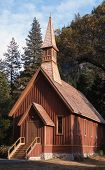 stock photo of f4  - This chapel is in Yosemite Valley near Sentinal Bridge and the Merced River - JPG