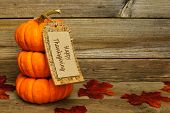 stock photo of happy halloween  - Stack of mini pumpkins with Happy Thanksgiving tag on a wooden background - JPG