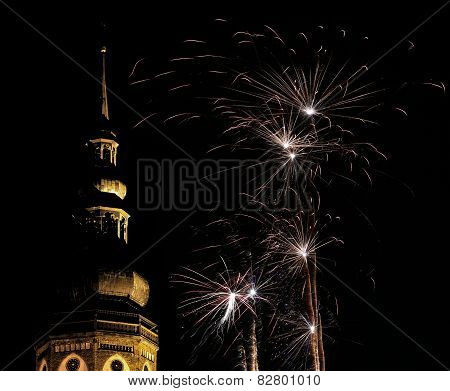 Greifswald Cathedral With Fireworks
