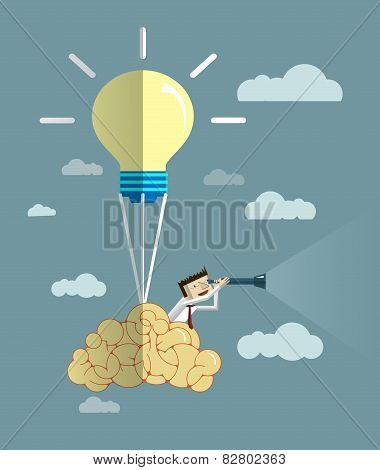 Businessman Looks Through His Telescope On Brain Balloon