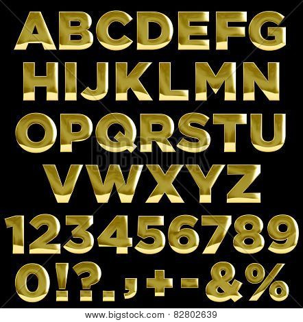 Gold Letters And Numbers Alphabet