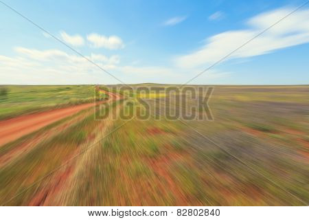 Abstract image of back road with motion blur
