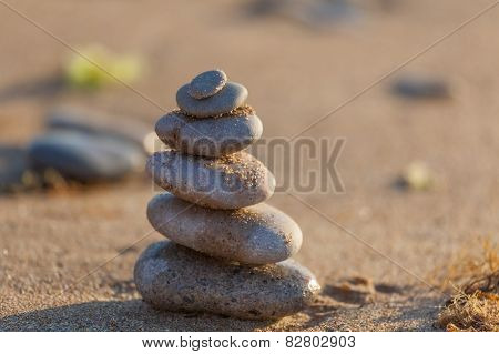 Balance stones on the beach