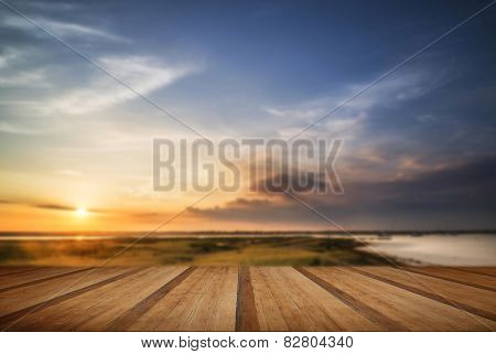 Beautful Summer Evening Landscape Over Wetlands And Harbour With Wooden Planks Floor