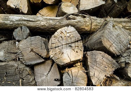 Stack Of Firewood Abandoned For Long Time Outside