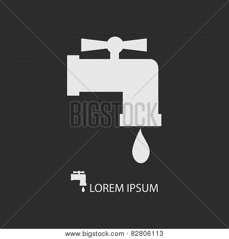 White Tap With Water Drop On Dark Grey Background