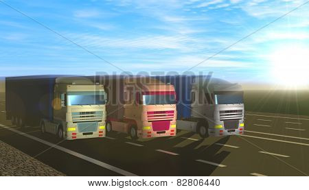 Three Trucks Carrying Cargo On The Highway.