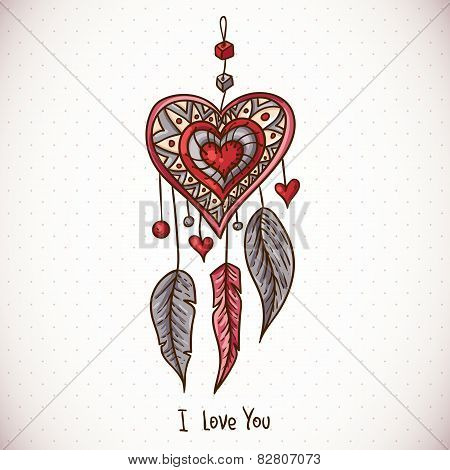 Doodle Greeting Card with Dream catcher and heart