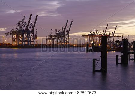 Hamburg - Port In The Evening