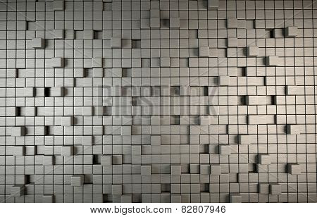 Abstract 3D background of grey cubes