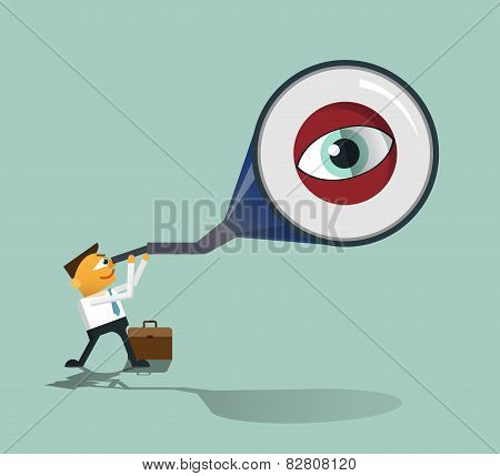 Smart Businessman Looks Through His Telescope