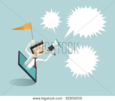 Tablet And Hand Of Businessman With Megaphone