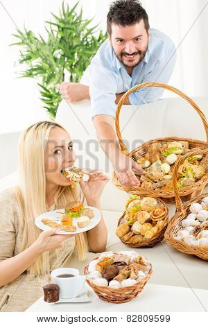 Couple Eating Baked Products