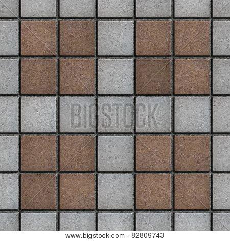 Brown-Gray Square Brick Pavers. Seamless Texture.