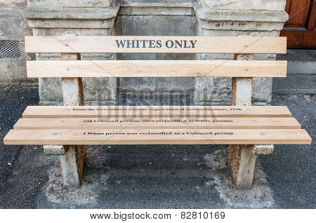 Whites Only - Reconstructed Apartheid Bench In Cape Town