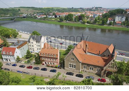Exterior of the buildings along the banks of the Elbe river in Meissen, Germany.
