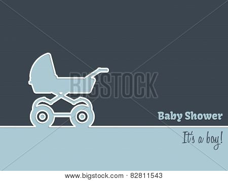 Newborn Greeting Card With Stroller
