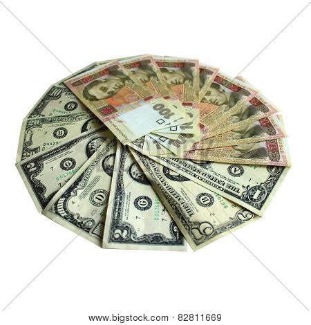 Dollars And Grivnas Banknotes Isolated On White
