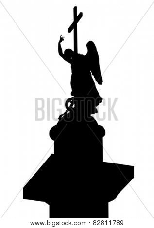 Monument to an angel with a cross on a white background