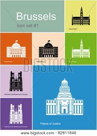 Landmarks of Brussels. Set of color icons in Metro style. Editable vector illustration.