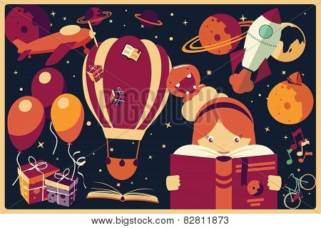 Background With Imagination Items And A Girl Reading A Book