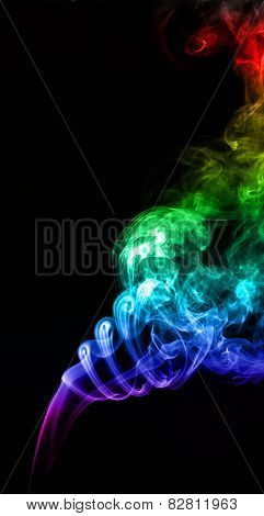 Image Colored Smoke On Black Background