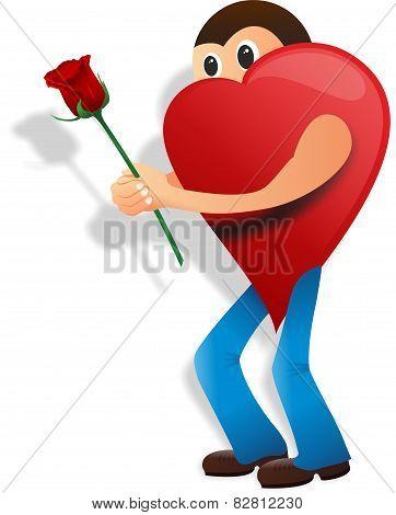 Love man, rose, valentine day
