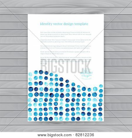 Vector watercolor circles. Corporate identity vector blank, back