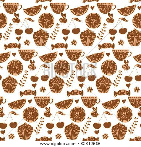 Tea seamless doodle teatime backdrop.Cakes to celebrate any even