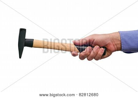 Male Worker's Hand Holding Hammer