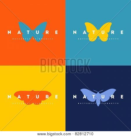 Butterfly. Set Of Logo Design Vector Templates